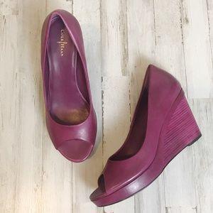 Cole Haan   Purple Open Toe Shayna Wedge Pump 10